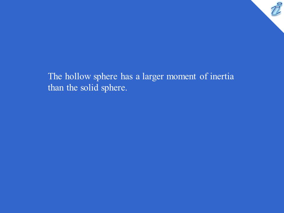 The hollow sphere has a larger moment of inertia than the solid sphere.