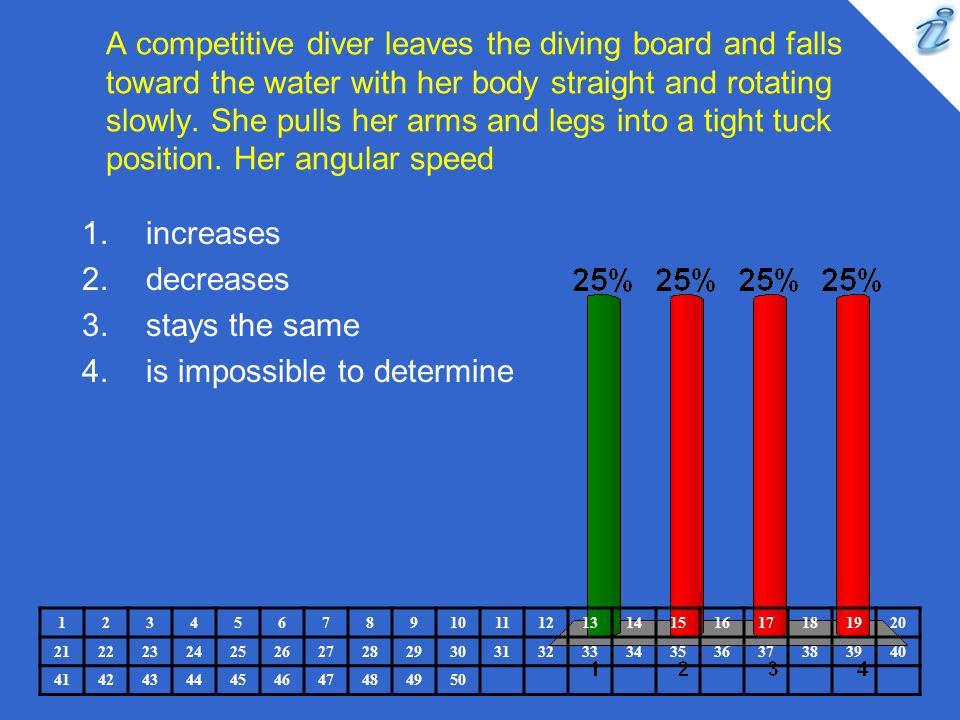 A competitive diver leaves the diving board and falls toward the water with her body straight and rotating slowly. She pulls her arms and legs into a