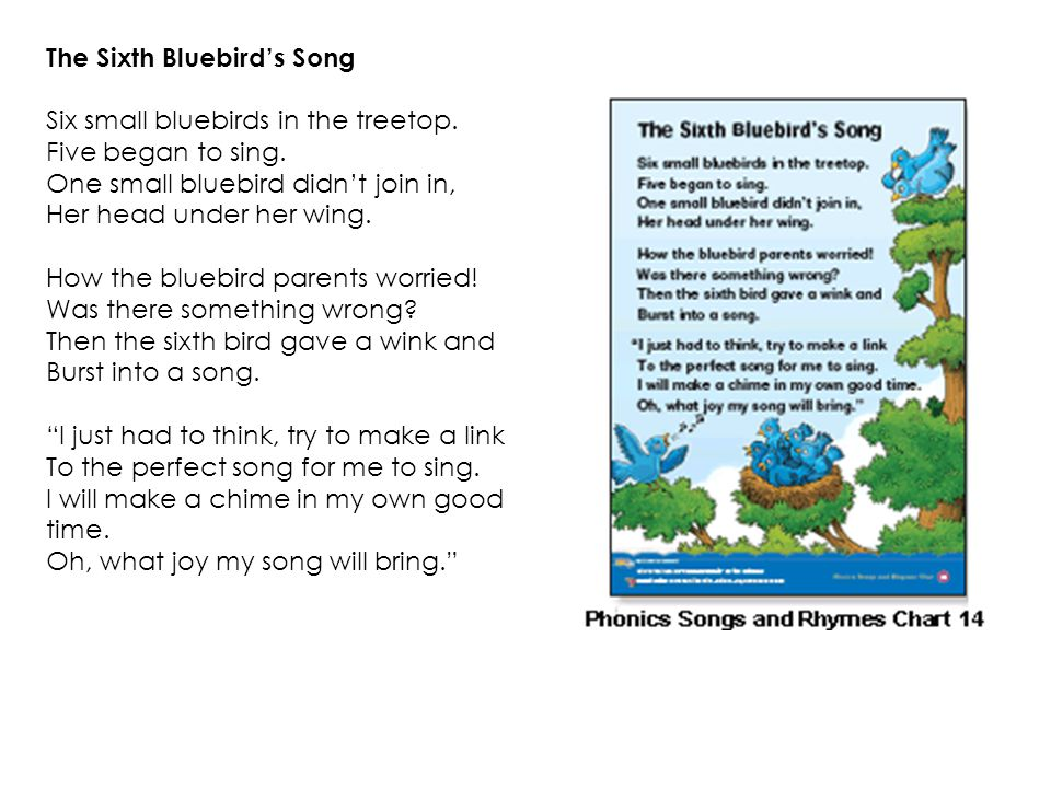 The Sixth Bluebird's Song Six small bluebirds in the treetop.