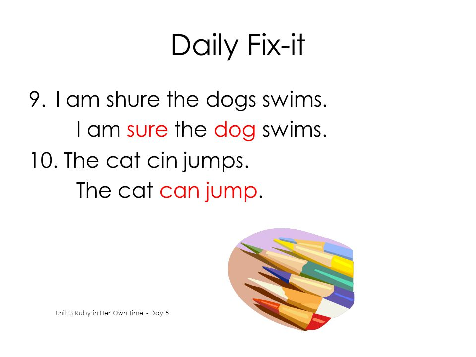 Daily Fix-it 9.I am shure the dogs swims. I am sure the dog swims.