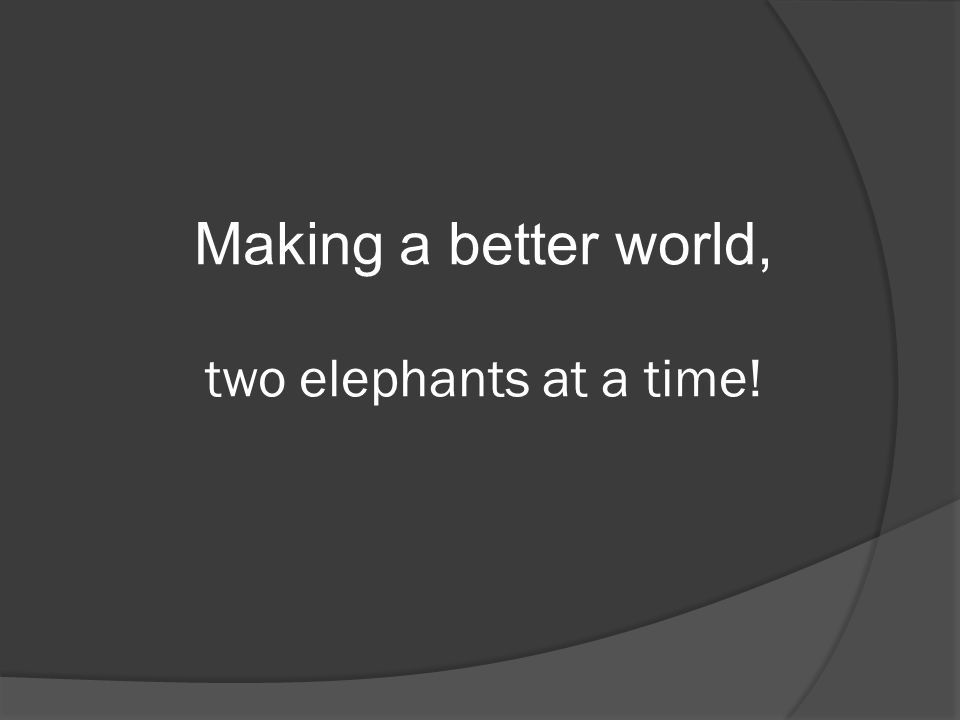 Making a better world, two elephants at a time!