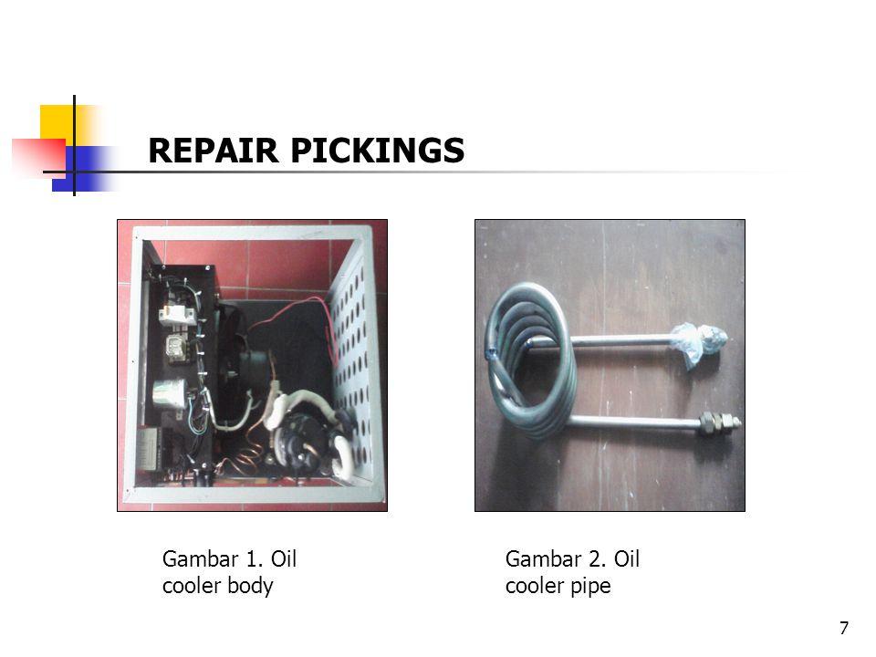 7 Gambar 1. Oil cooler body Gambar 2. Oil cooler pipe REPAIR PICKINGS