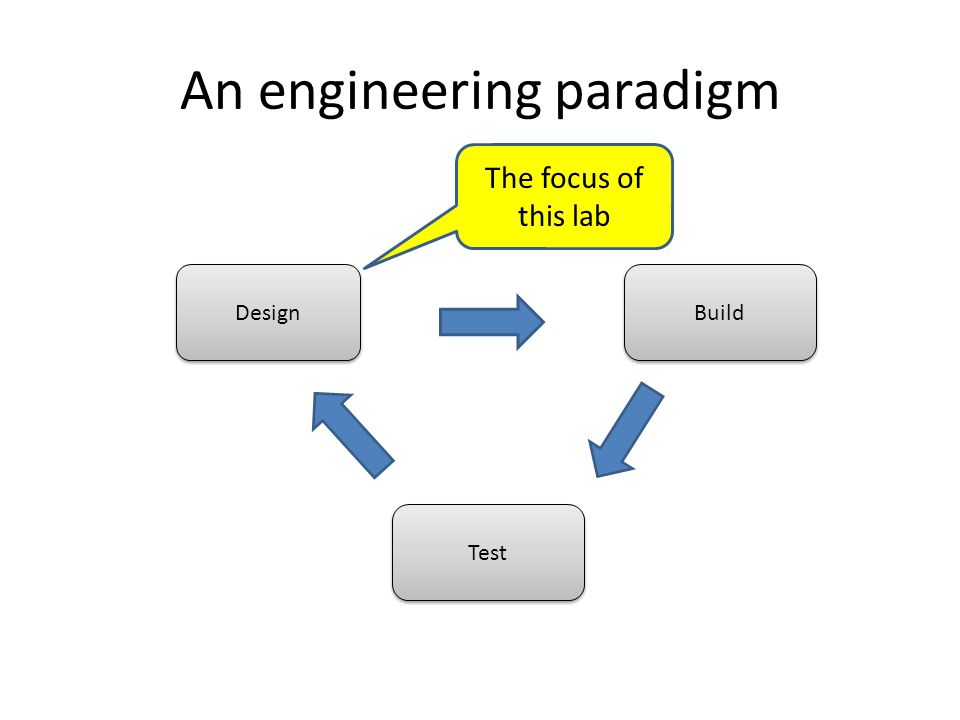 An engineering paradigm The focus of this lab Design Build Test