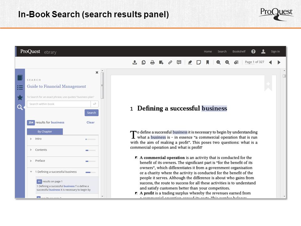 In-Book Search (search results panel)