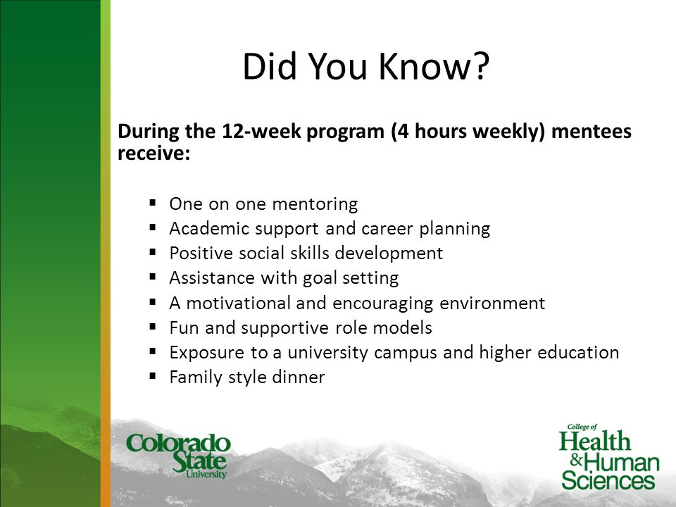 Did You Know? During the 12-week program (4 hours weekly) mentees receive:  One on one mentoring  Academic support and career planning  Positive so