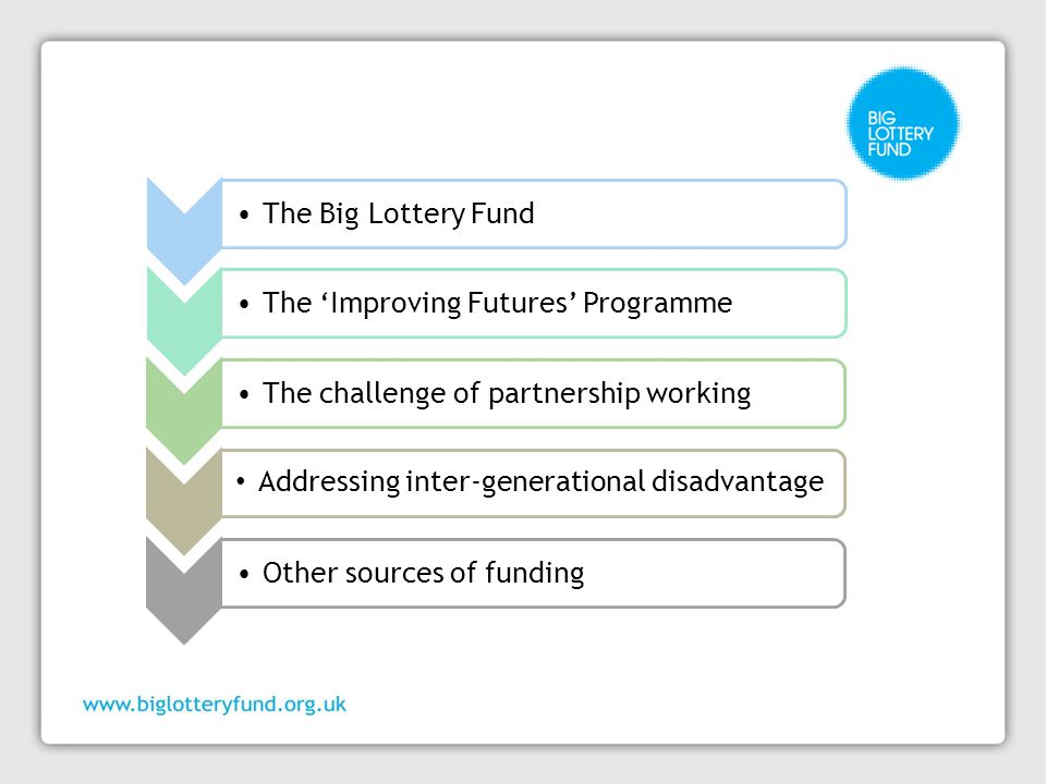 The Big Lottery FundThe 'Improving Futures' ProgrammeThe challenge of partnership working Addressing inter-generational disadvantage Other sources of funding