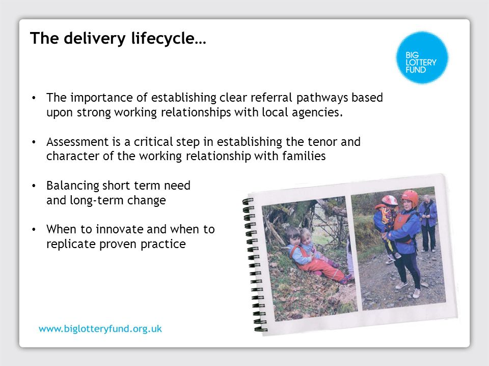 The delivery lifecycle… The importance of establishing clear referral pathways based upon strong working relationships with local agencies.