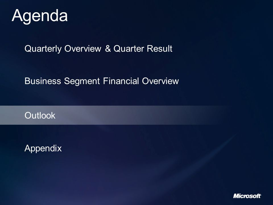 Business Segment Financial Overview Outlook Appendix
