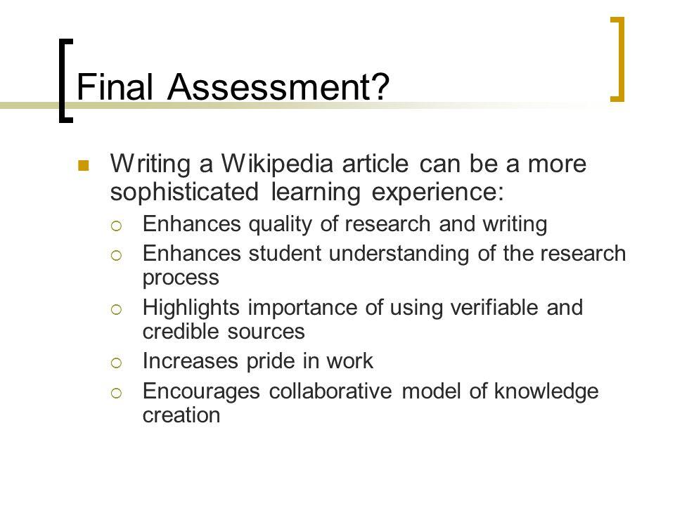 Final Assessment.