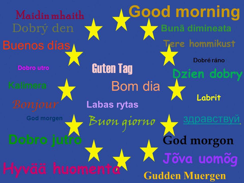 Bonjour Dobrý den Good morning Guten Tag Buon giorno здравствуй Buenos días Bom dia Hyvää huomenta Kalimera Maidin mhaith Labrit Labas rytas Jõva uomõ