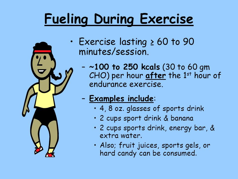 Fueling During Exercise Exercise lasting ≥ 60 to 90 minutes/session.