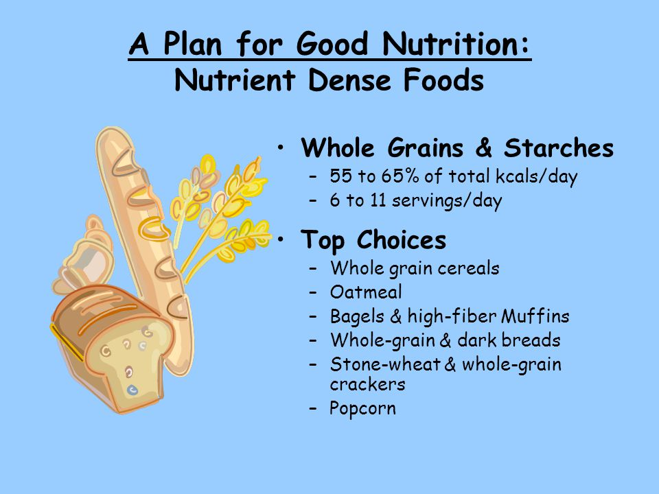 A Plan for Good Nutrition: Nutrient Dense Foods Whole Grains & Starches –55 to 65% of total kcals/day –6 to 11 servings/day Top Choices –Whole grain cereals –Oatmeal –Bagels & high-fiber Muffins –Whole-grain & dark breads –Stone-wheat & whole-grain crackers –Popcorn