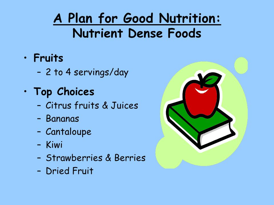 A Plan for Good Nutrition: Nutrient Dense Foods Fruits –2 to 4 servings/day Top Choices –Citrus fruits & Juices –Bananas –Cantaloupe –Kiwi –Strawberries & Berries –Dried Fruit