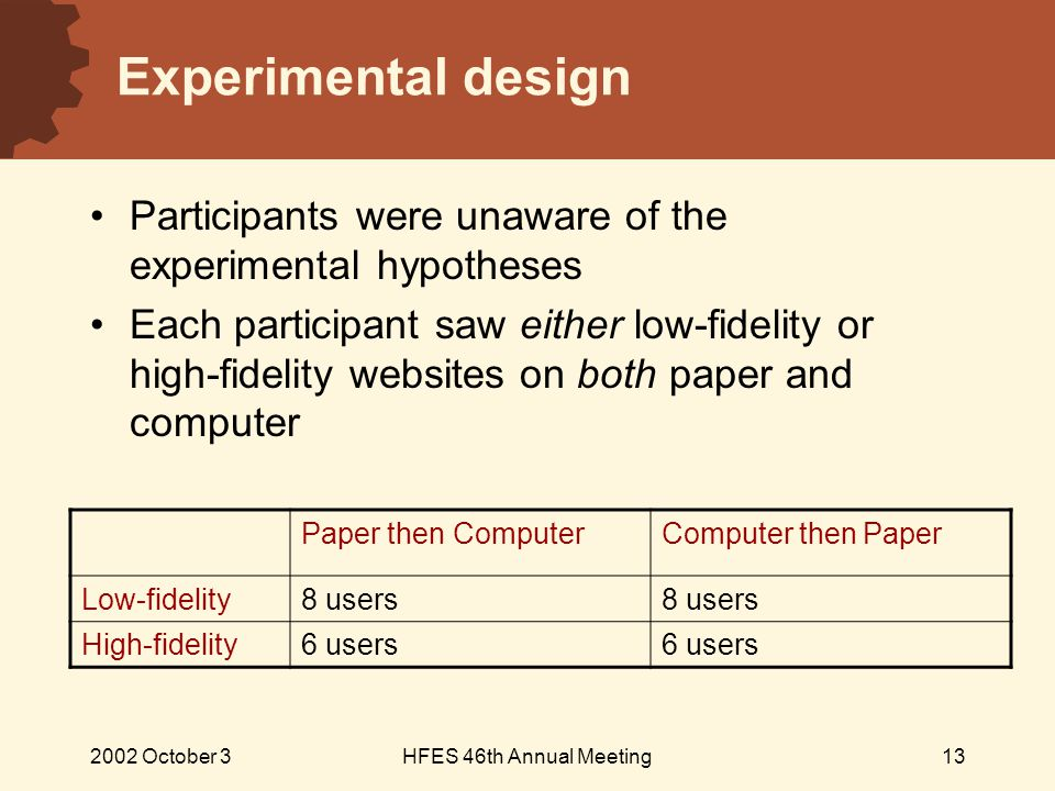 2002 October 3HFES 46th Annual Meeting13 Experimental design Participants were unaware of the experimental hypotheses Each participant saw either low-fidelity or high-fidelity websites on both paper and computer Paper then ComputerComputer then Paper Low-fidelity8 users High-fidelity6 users