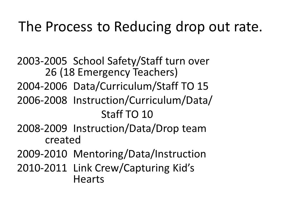 The Process to Reducing drop out rate.