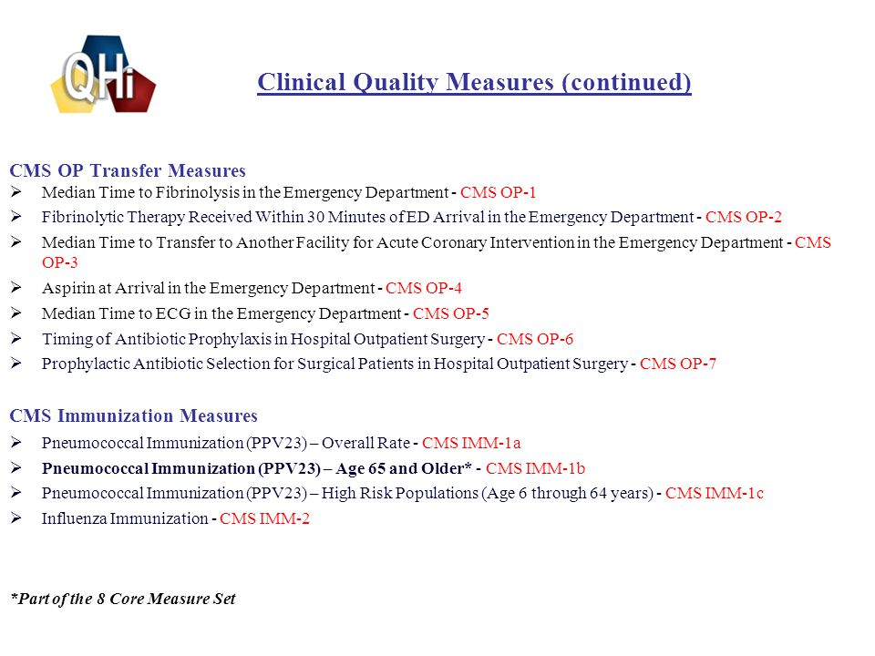 Clinical Quality Measures (continued) CMS OP Transfer Measures  Median Time to Fibrinolysis in the Emergency Department - CMS OP-1  Fibrinolytic Therapy Received Within 30 Minutes of ED Arrival in the Emergency Department - CMS OP-2  Median Time to Transfer to Another Facility for Acute Coronary Intervention in the Emergency Department - CMS OP-3  Aspirin at Arrival in the Emergency Department - CMS OP-4  Median Time to ECG in the Emergency Department - CMS OP-5  Timing of Antibiotic Prophylaxis in Hospital Outpatient Surgery - CMS OP-6  Prophylactic Antibiotic Selection for Surgical Patients in Hospital Outpatient Surgery - CMS OP-7 CMS Immunization Measures  Pneumococcal Immunization (PPV23) – Overall Rate - CMS IMM-1a  Pneumococcal Immunization (PPV23) – Age 65 and Older* - CMS IMM-1b  Pneumococcal Immunization (PPV23) – High Risk Populations (Age 6 through 64 years) - CMS IMM-1c  Influenza Immunization - CMS IMM-2 *Part of the 8 Core Measure Set 8