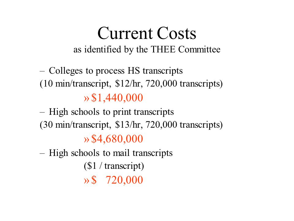 Current Costs as identified by the THEE Committee –Colleges to process HS transcripts (10 min/transcript, $12/hr, 720,000 transcripts) »$1,440,000 –High schools to print transcripts (30 min/transcript, $13/hr, 720,000 transcripts) »$4,680,000 –High schools to mail transcripts ($1 / transcript) »$ 720,000