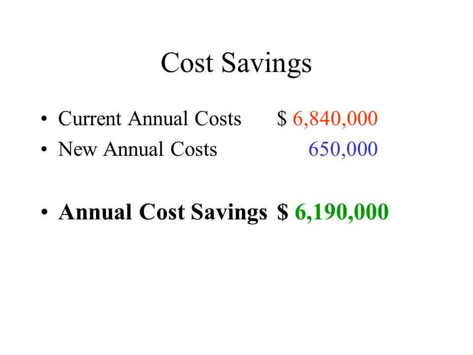 Cost Savings Current Annual Costs$ 6,840,000 New Annual Costs 650,000 Annual Cost Savings$ 6,190,000