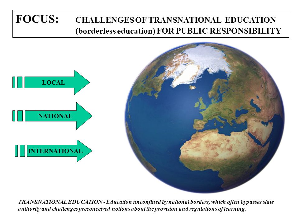 FOCUS: CHALLENGES OF TRANSNATIONAL EDUCATION (borderless education) FOR PUBLIC RESPONSIBILITY LOCAL NATIONAL INTERNATIONAL TRANSNATIONAL EDUCATION - Education unconfined by national borders, which often bypasses state authority and challenges preconceived notions about the provision and regulations of learning.