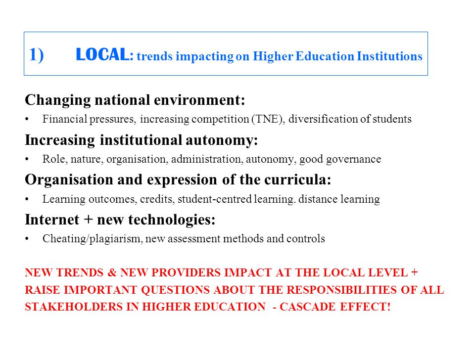 1) LOCAL : trends impacting on Higher Education Institutions Changing national environment: Financial pressures, increasing competition (TNE), diversification of students Increasing institutional autonomy: Role, nature, organisation, administration, autonomy, good governance Organisation and expression of the curricula: Learning outcomes, credits, student-centred learning.