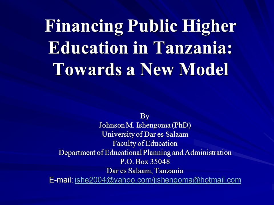 Introduction The current system of financing (public) higher education in Tanzania is flawed and lopsided to such an extent that it has generated controversies, partisan debates among different stakeholders and crises in higher education sector as manifested by perennial students' strikes in public higher education institutions and budget deficits.
