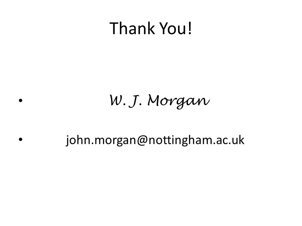 Thank You! W. J. Morgan john.morgan@nottingham.ac.uk