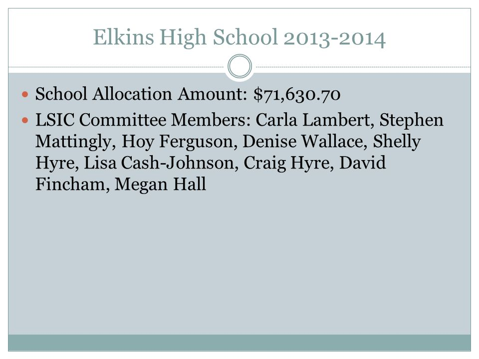 Elkins High School 2013-2014 School Allocation Amount: $71,630.70 LSIC Committee Members: Carla Lambert, Stephen Mattingly, Hoy Ferguson, Denise Wallace, Shelly Hyre, Lisa Cash-Johnson, Craig Hyre, David Fincham, Megan Hall