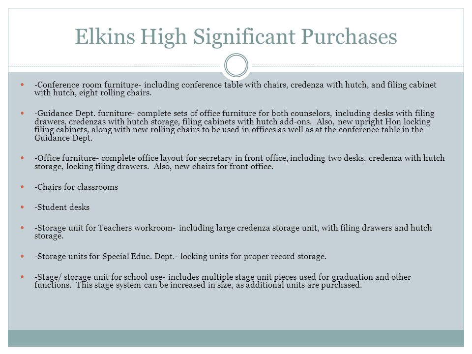 Elkins High Significant Purchases -Conference room furniture- including conference table with chairs, credenza with hutch, and filing cabinet with hutch, eight rolling chairs.
