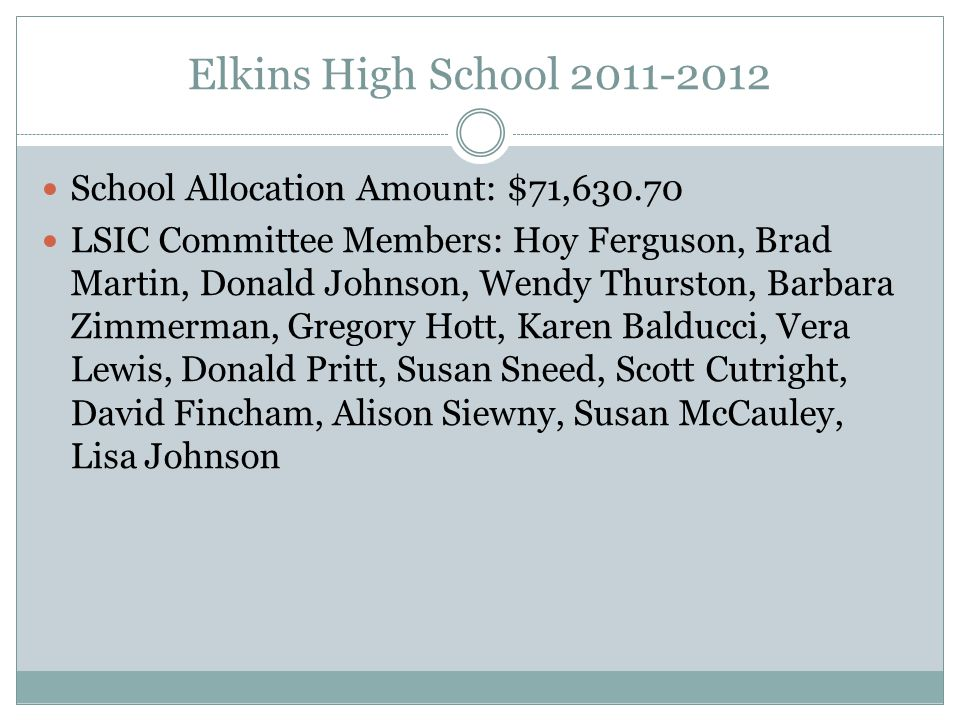 Elkins High School 2011-2012 School Allocation Amount: $71,630.70 LSIC Committee Members: Hoy Ferguson, Brad Martin, Donald Johnson, Wendy Thurston, Barbara Zimmerman, Gregory Hott, Karen Balducci, Vera Lewis, Donald Pritt, Susan Sneed, Scott Cutright, David Fincham, Alison Siewny, Susan McCauley, Lisa Johnson