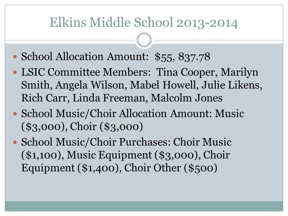 Elkins Middle School 2013-2014 School Allocation Amount: $55, 837.78 LSIC Committee Members: Tina Cooper, Marilyn Smith, Angela Wilson, Mabel Howell, Julie Likens, Rich Carr, Linda Freeman, Malcolm Jones School Music/Choir Allocation Amount: Music ($3,000), Choir ($3,000) School Music/Choir Purchases: Choir Music ($1,100), Music Equipment ($3,000), Choir Equipment ($1,400), Choir Other ($500)