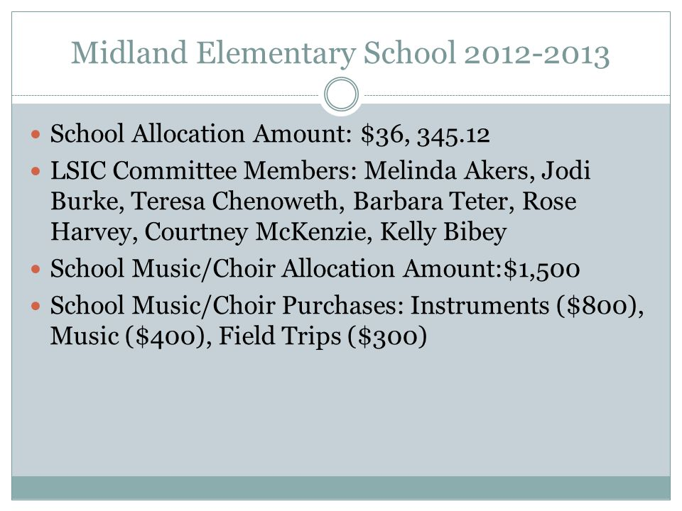 Midland Elementary School 2012-2013 School Allocation Amount: $36, 345.12 LSIC Committee Members: Melinda Akers, Jodi Burke, Teresa Chenoweth, Barbara Teter, Rose Harvey, Courtney McKenzie, Kelly Bibey School Music/Choir Allocation Amount:$1,500 School Music/Choir Purchases: Instruments ($800), Music ($400), Field Trips ($300)