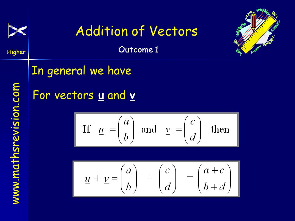 www.mathsrevision.com Higher Outcome 1 Addition of Vectors Addition of vectors A B C