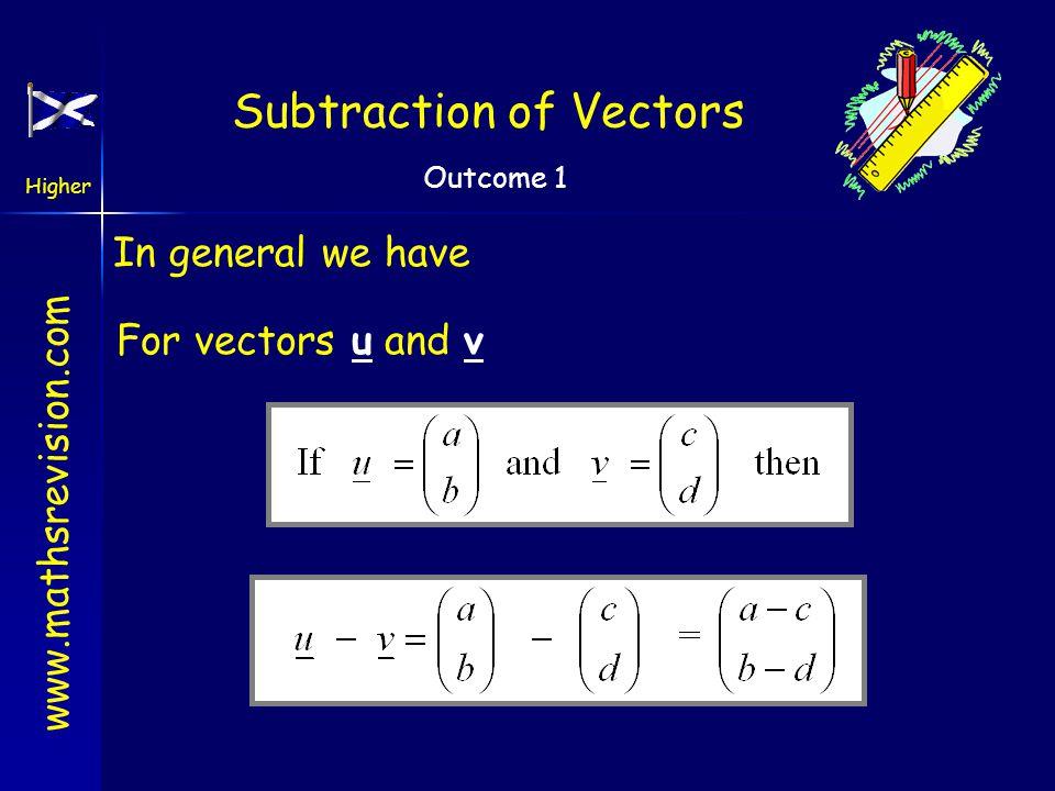 www.mathsrevision.com Higher Outcome 1 Subtraction of Vectors Subtraction of vectors a b a - b Notice arrows nose to nose