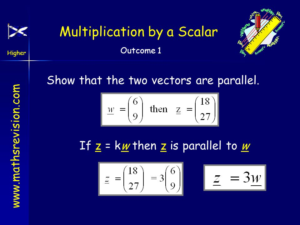 www.mathsrevision.com Higher Outcome 1 Multiplication by a Scalar Multiplication by a scalar Write down a vector parallel to a Write down a vector par