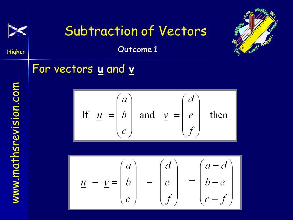www.mathsrevision.com Higher Outcome 1 Subtraction of Vectors Subtraction of vectors