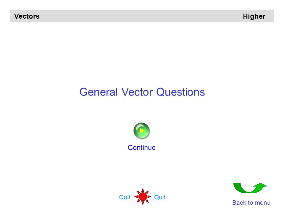 Vectors Higher The questions are in groups Angles between vectors (5) Points dividing lines in ratios Collinear points (8) General vector questions (1