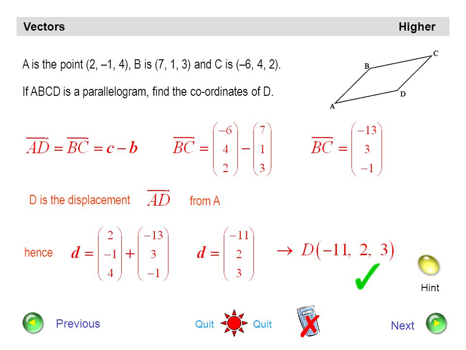 Hint Quit Vectors Higher Previous Next Find the value of k for which the vectors and are perpendicular Put Scalar product = 0