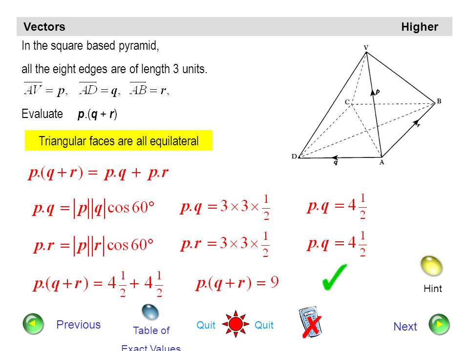 Hint Quit Vectors Higher Previous Next A is the point ( –3, 2, 4 ) and B is ( –1, 3, 2 ) Find: a) the components of b) the length of AB a) b)