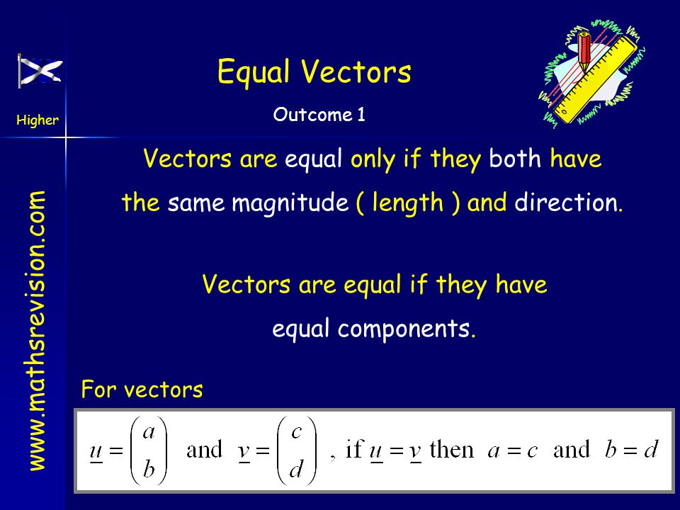 www.mathsrevision.com Higher Outcome 1 Equal Vectors Vectors are equal only if they both have the same magnitude ( length ) and direction.