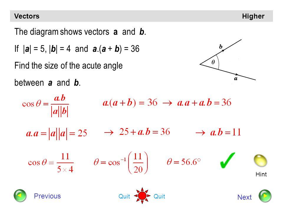 Vectors Higher Angle between two vectors Continue Quit Back to menu