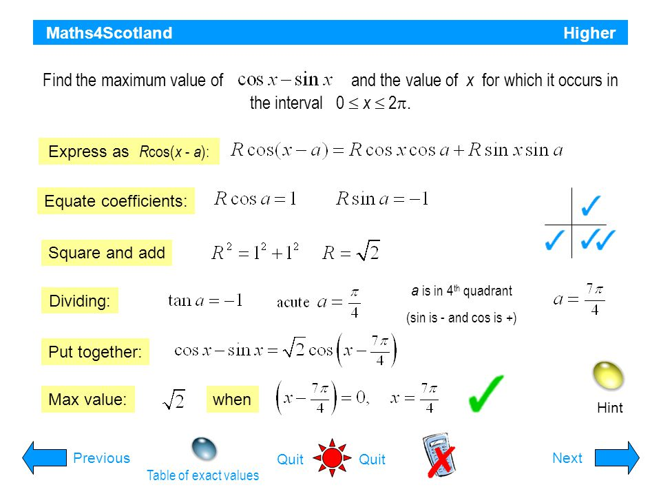 Maths4Scotland Higher Hint Expand k cos( x + a ): PreviousNext Quit Equate coefficients: Square and add Dividing: Put together: Express in the form a