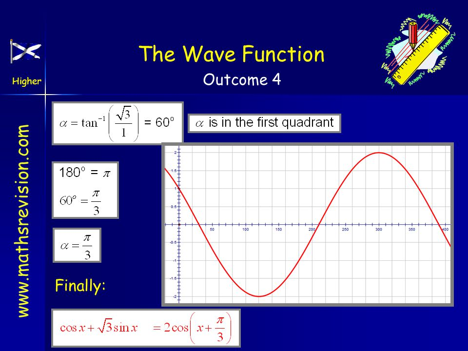 www.mathsrevision.com Higher Outcome 4 The Wave Function Example Square and add Find tan ratio note: sin(+) and cos(+) Expand and equate coefficients