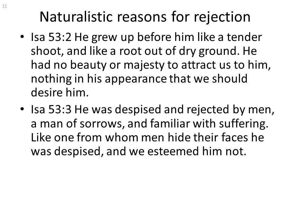 Naturalistic reasons for rejection Isa 53:2 He grew up before him like a tender shoot, and like a root out of dry ground.