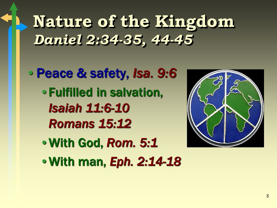 8 Nature of the Kingdom Daniel 2:34-35, 44-45 Peace & safety, Isa.