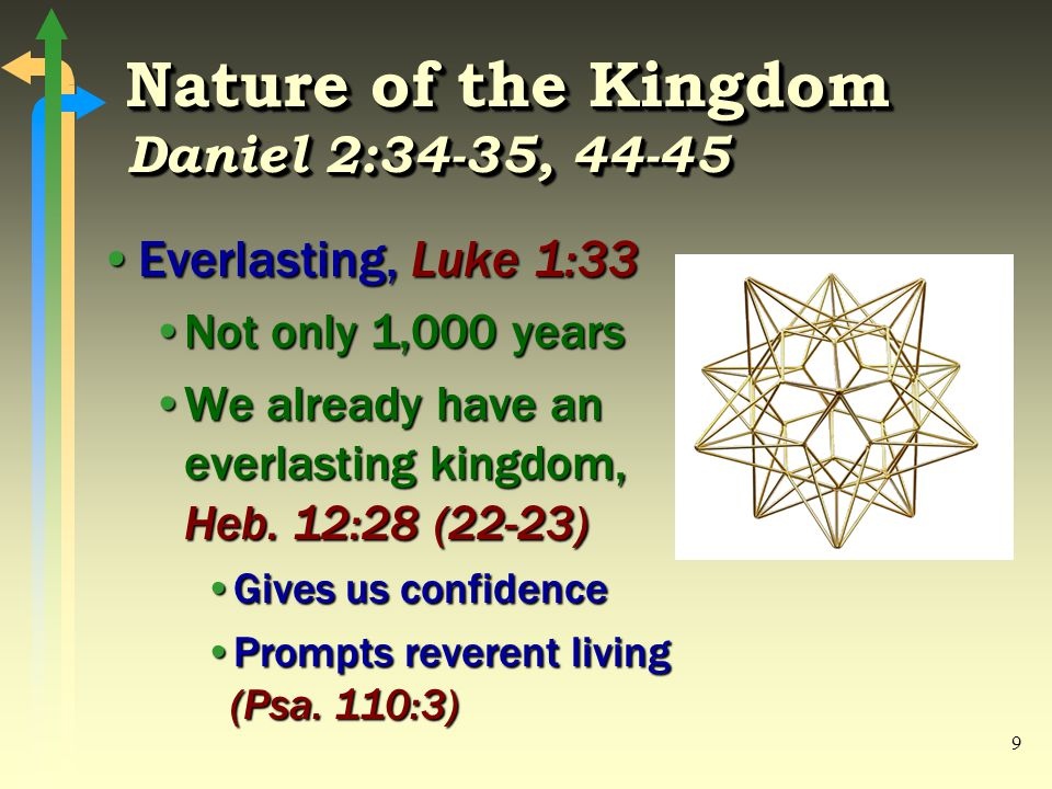 9 Nature of the Kingdom Daniel 2:34-35, 44-45 Everlasting, Luke 1:33Everlasting, Luke 1:33 Not only 1,000 yearsNot only 1,000 years We already have an everlasting kingdom, Heb.