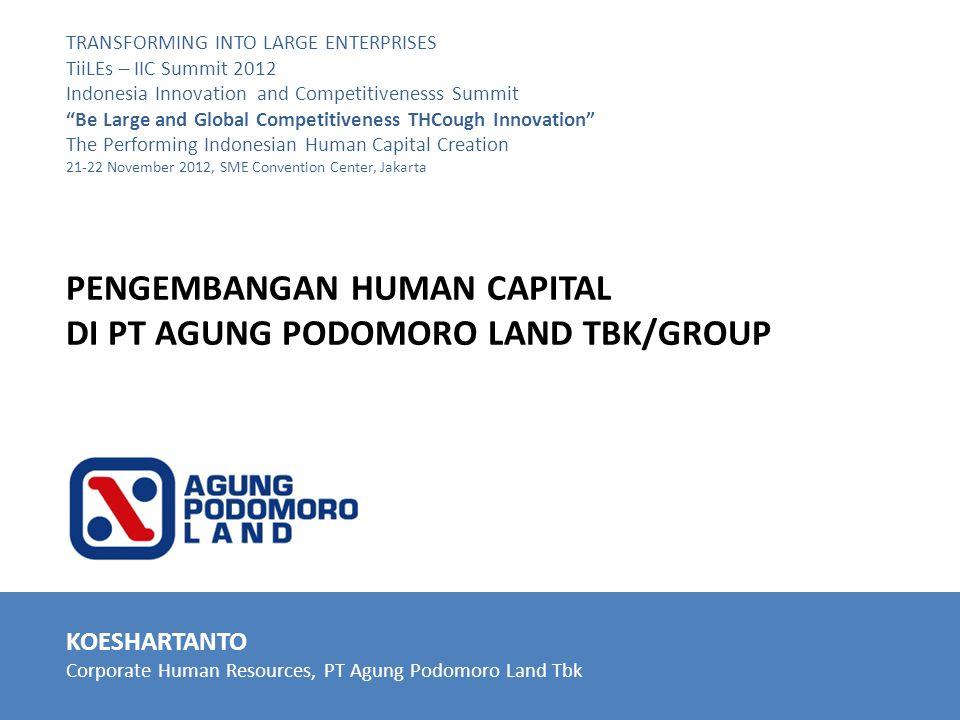 KOESHARTANTO Corporate Human Resources, PT Agung Podomoro Land Tbk TRANSFORMING INTO LARGE ENTERPRISES TiiLEs – IIC Summit 2012 Indonesia Innovation a
