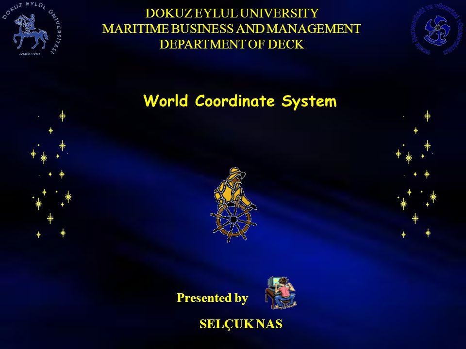 DOKUZ EYLUL UNIVERSITY MARITIME BUSINESS AND MANAGEMENT DEPARTMENT OF DECK World Coordinate System DÜNYA ÇİGİ ÇİZGİ DEĞİLMİŞ, ÖYLE DEĞİLMİŞ.