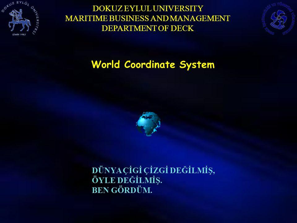 DOKUZ EYLUL UNIVERSITY MARITIME BUSINESS AND MANAGEMENT DEPARTMENT OF DECK World Coordinate System DÜNYA ÇİGİ ÇİZGİ DEĞİLMİŞ, ÖYLE DEĞİLMİŞ. BEN GÖRDÜ