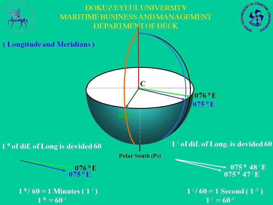 DOKUZ EYLUL UNIVERSITY MARITIME BUSINESS AND MANAGEMENT DEPARTMENT OF DECK 076 0 E 075 0 E Polar South (Ps) C 076 0 E 075 0 E 000 0 075 0 48 / E 075 0