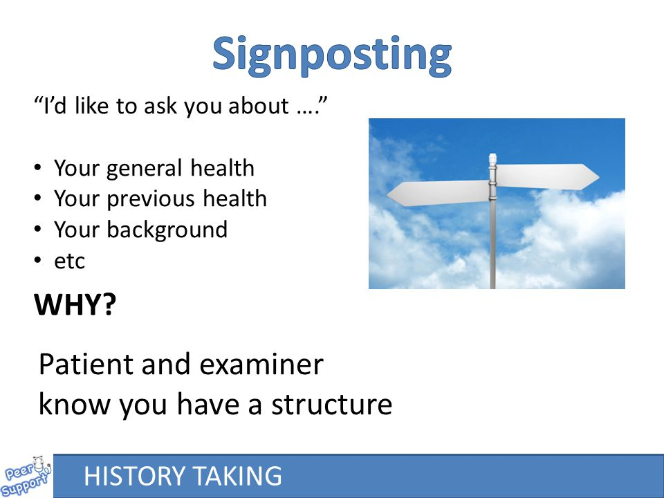 HISTORY TAKING I'd like to ask you about …. Your general health Your previous health Your background etc WHY.